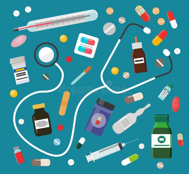 Medicinas en píldoras o jarabes y sistema del estetoscopio libre illustration