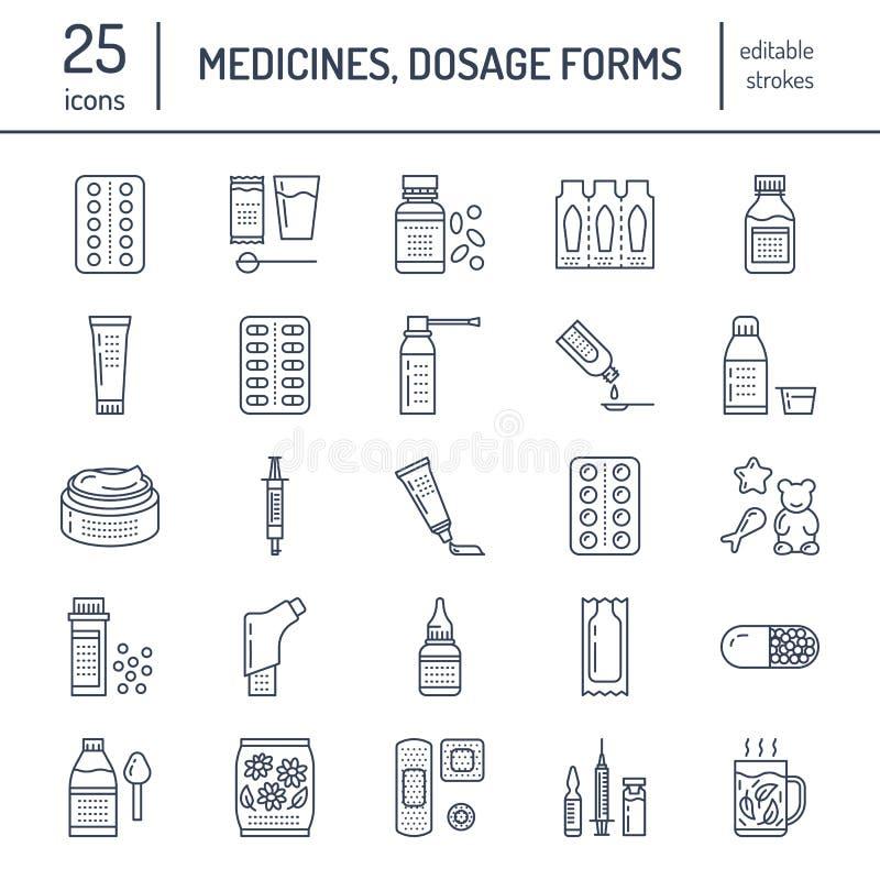 Medicinas, línea iconos de las formas de dosificación Medicamentos de la farmacia, tableta, cápsulas, píldoras, antibióticos, vit ilustración del vector