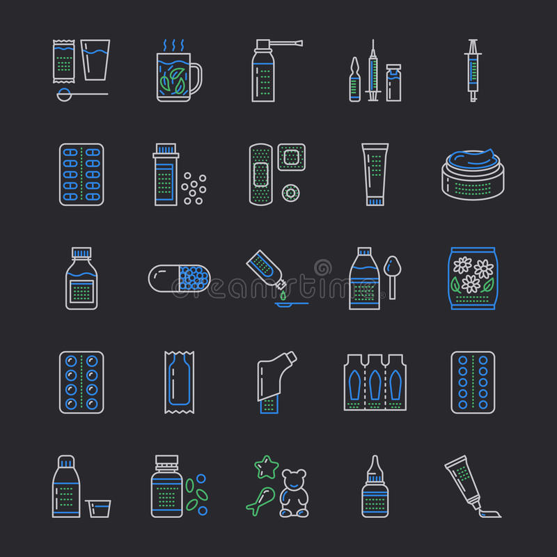 Medicinas, línea iconos de las formas de dosificación Medicamentos de la farmacia, tableta, cápsulas, píldoras, antibióticos, vit stock de ilustración