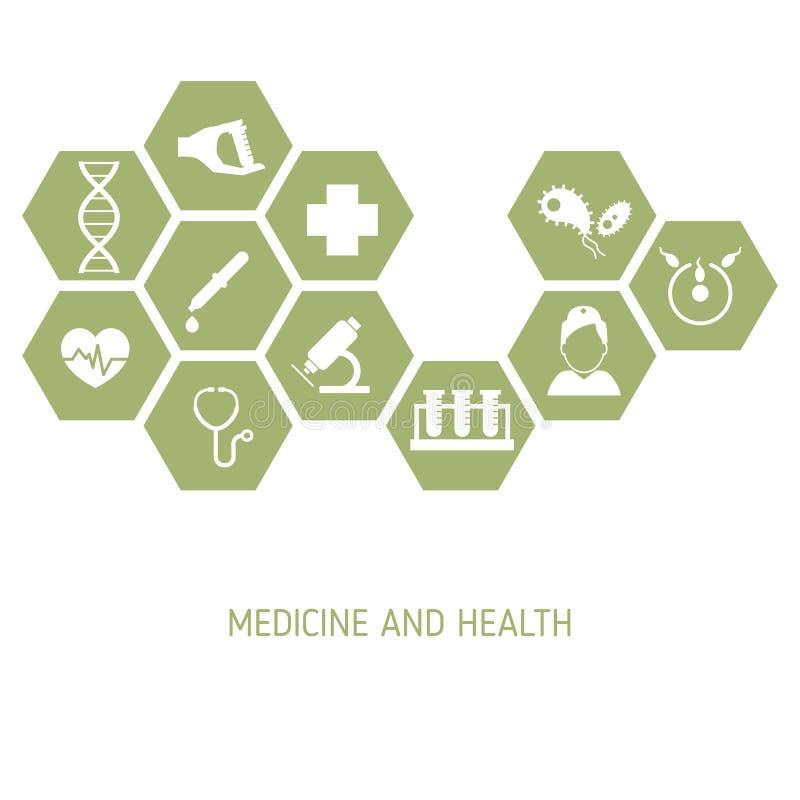 Medicinbakgrund med symboler royaltyfri illustrationer