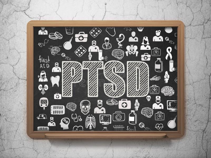 Medicinbegrepp: PTSD på skolförvaltningbakgrund royaltyfri illustrationer