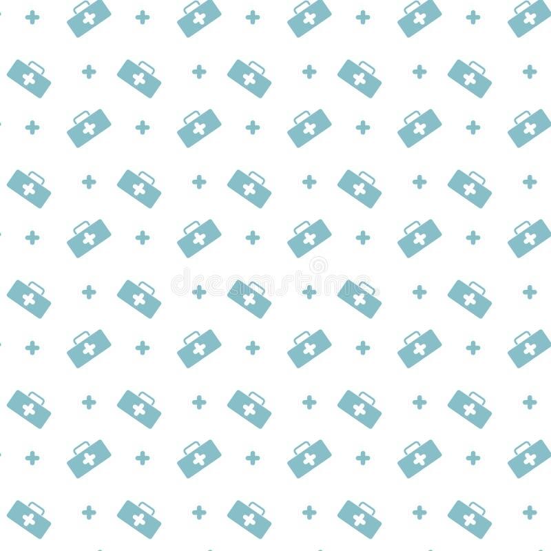Medicinbröstkorg och sömlös modell för korssymbol Bakgrund med första hjälpensatsen för den medicinska lättheten för sjukvårdmitt vektor illustrationer