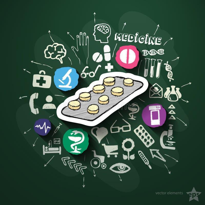 Medicincollage med symboler på svart tavla stock illustrationer
