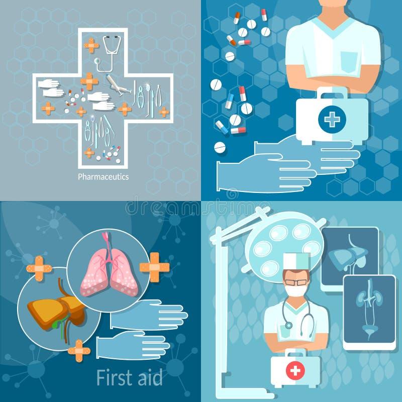 Medicindoktor i uppsättning för lägenhet för sjukhusmedicinteknologi vektor illustrationer