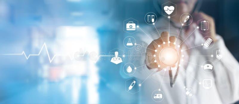 Medicindoktor och stetoskop i för symbolsläkarundersökning för hand rörande ne stock illustrationer