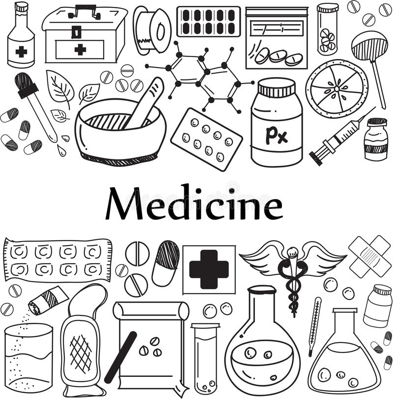 Free Medicine And Pharmaceutical Doodle Handwriting Icons Royalty Free Stock Photo - 105673015