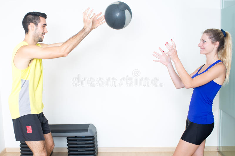 Medicine ball exercise royalty free stock photography
