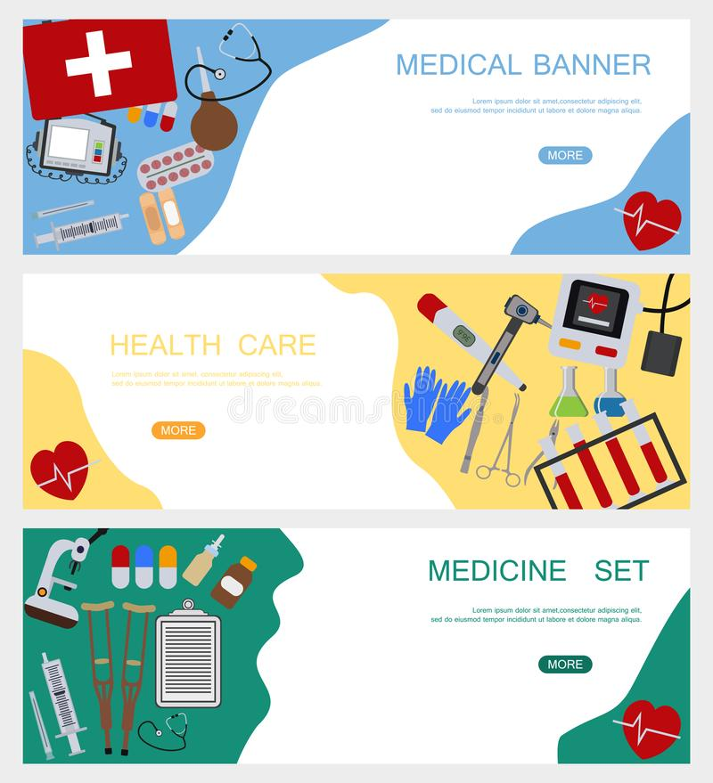 Medicine banner health tools medical hospital human service operation healthy care first aid kit vector illustration stock photography
