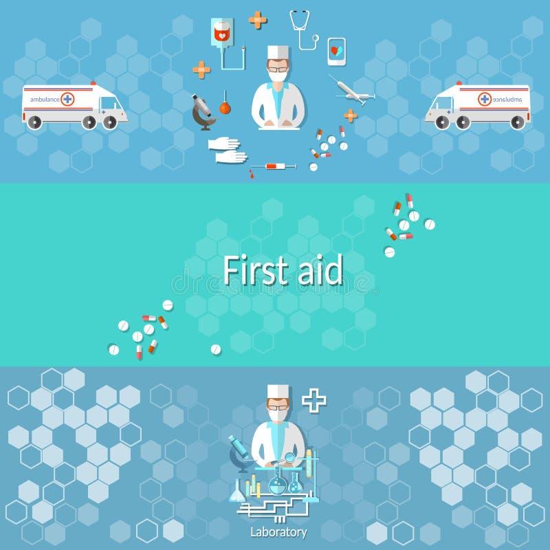 Medicine banners ambulance pharmacology doctor first aid. Medicine ambulance, pharmacology, pharmacist doctor syringes pills, medical research syringe stock illustration