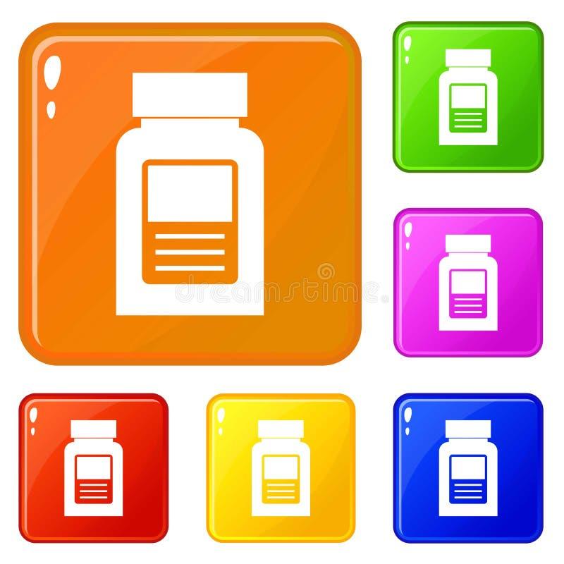 Medicine bottle icons set vector color. Medicine bottle icons set collection vector 6 color isolated on white background royalty free illustration