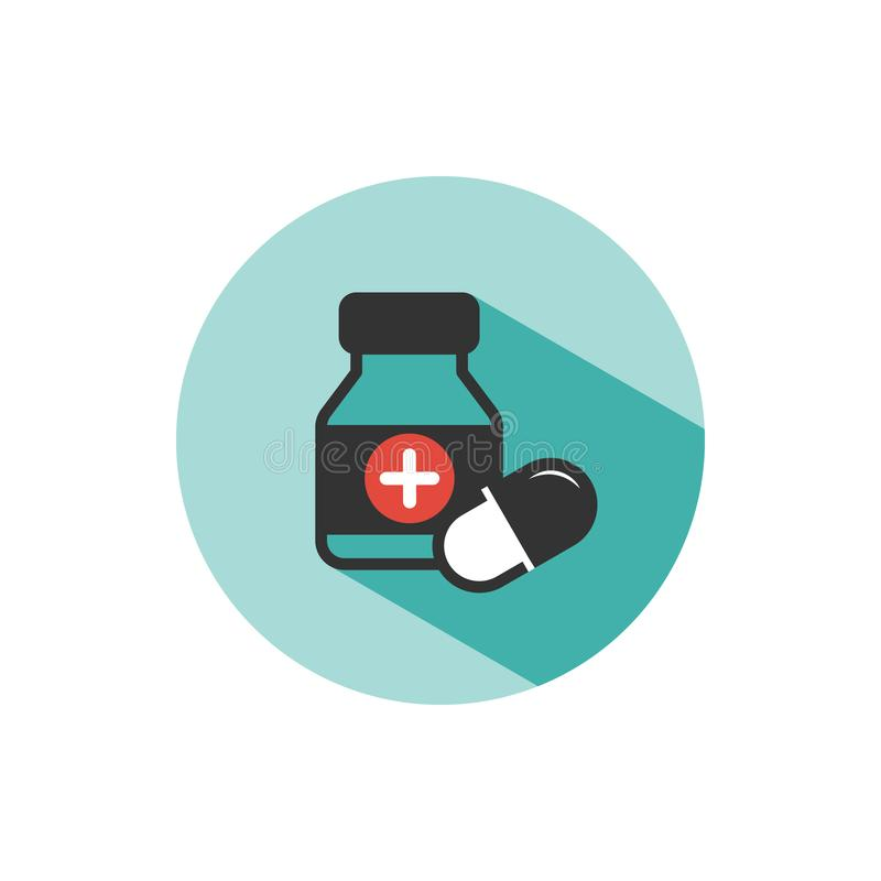 Medicine bottle and pills color icon with shade on a green circle royalty free illustration