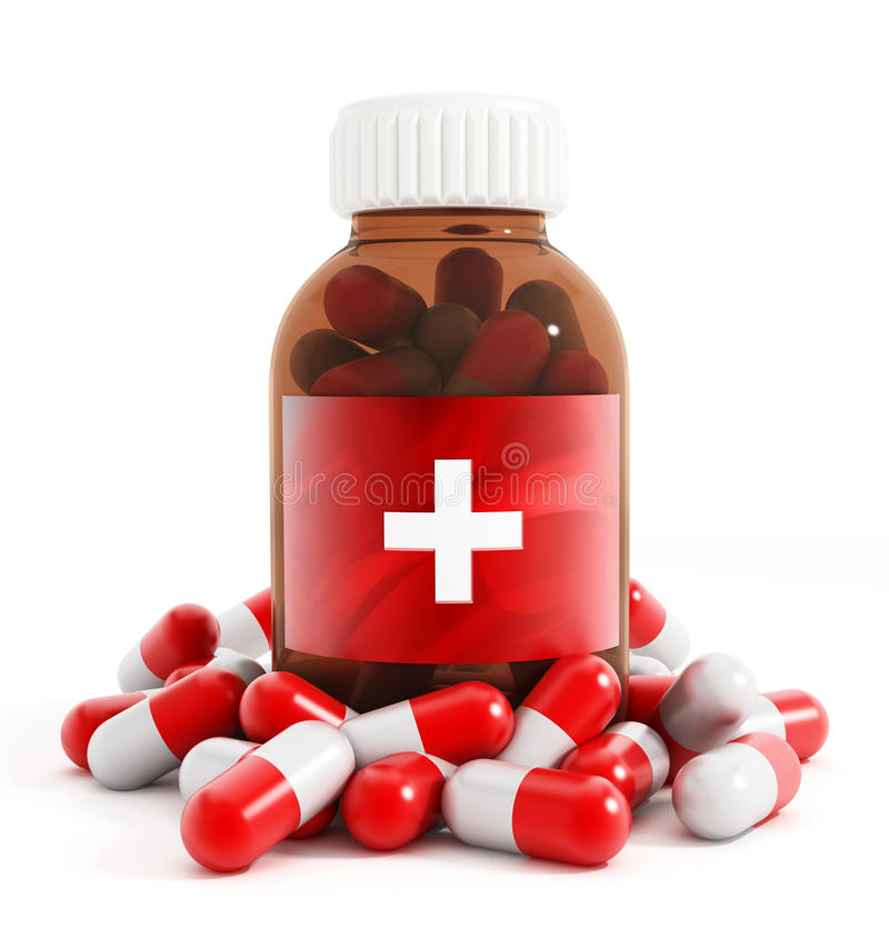 Medicine bottle and pills. On white background royalty free stock photo