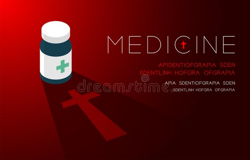 Medicine bottle with shadow and cross sign, Danger expired concept idea poster or flyer template layout design illustration. Isolated on red gradients stock illustration