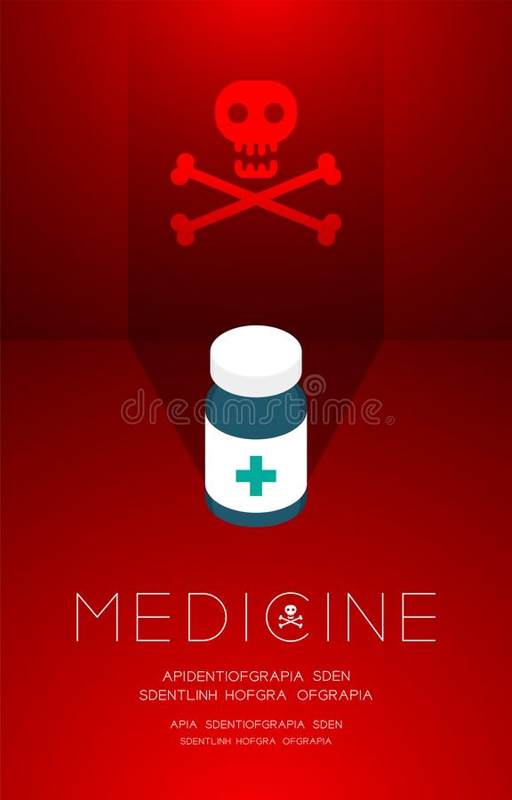 Medicine bottle with shadow and skull and crossbones sign, Danger expired concept idea poster or flyer template layout design. Illustration isolated on red stock illustration