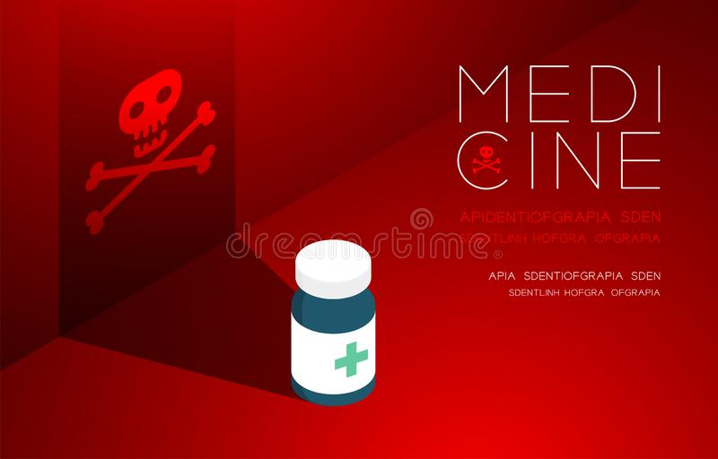 Medicine bottle with shadow and skull and crossbones sign, Danger expired concept idea poster or flyer template layout design. Illustration isolated on red royalty free illustration