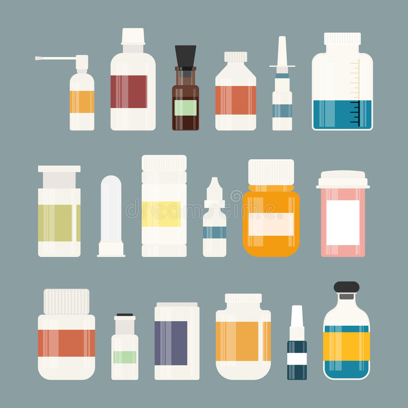 Medicine bottles collection. Bottles of drugs, tablets, capsules and sprays. Vector illustration. Medicine colorful bottles collection. Bottles for drugs royalty free illustration