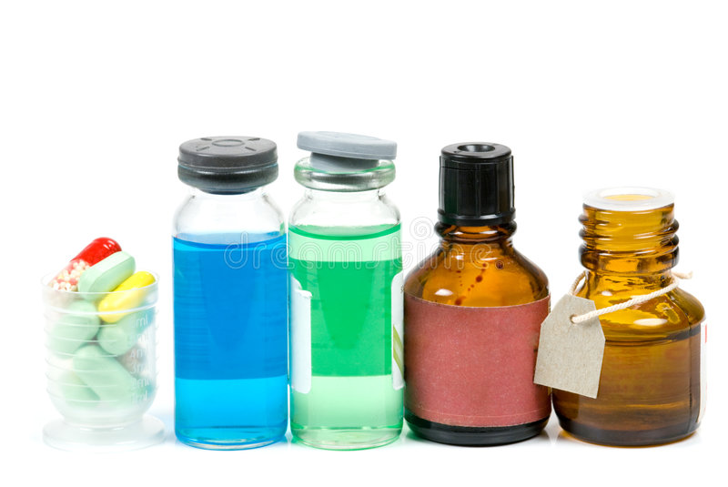 Medicine bottles and pills stock photo