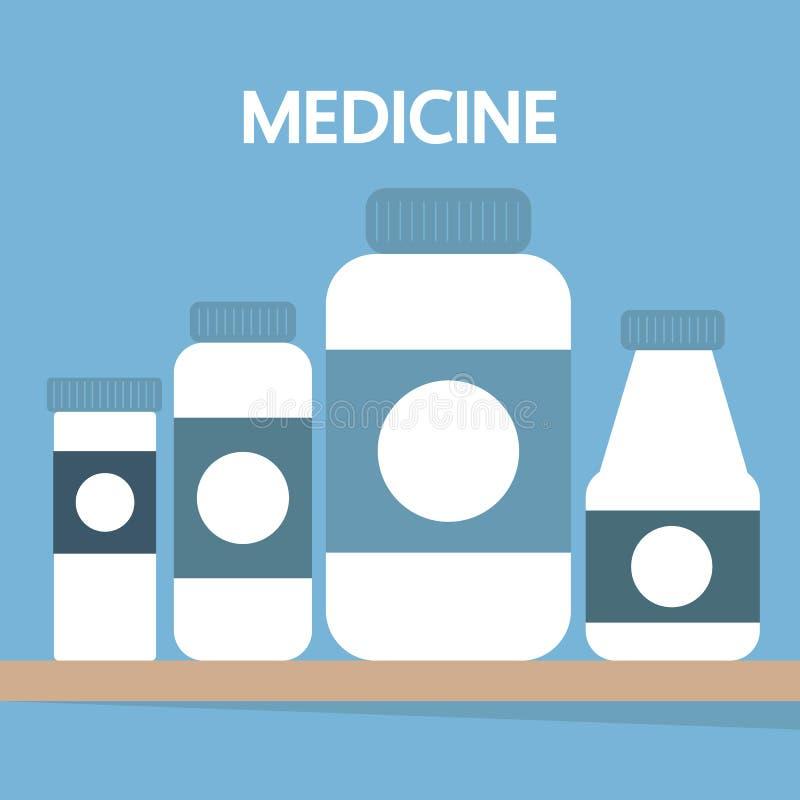 Medicine bottles, vector illustration, flat design royalty free illustration