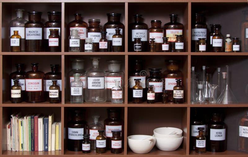 Medicine cabinet. Antique medicine cabinet used for storing drugs royalty free stock image