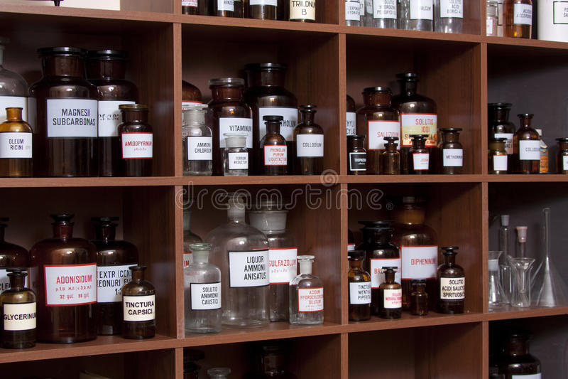 Medicine cabinet. Antique medicine cabinet used for storing drugs stock images