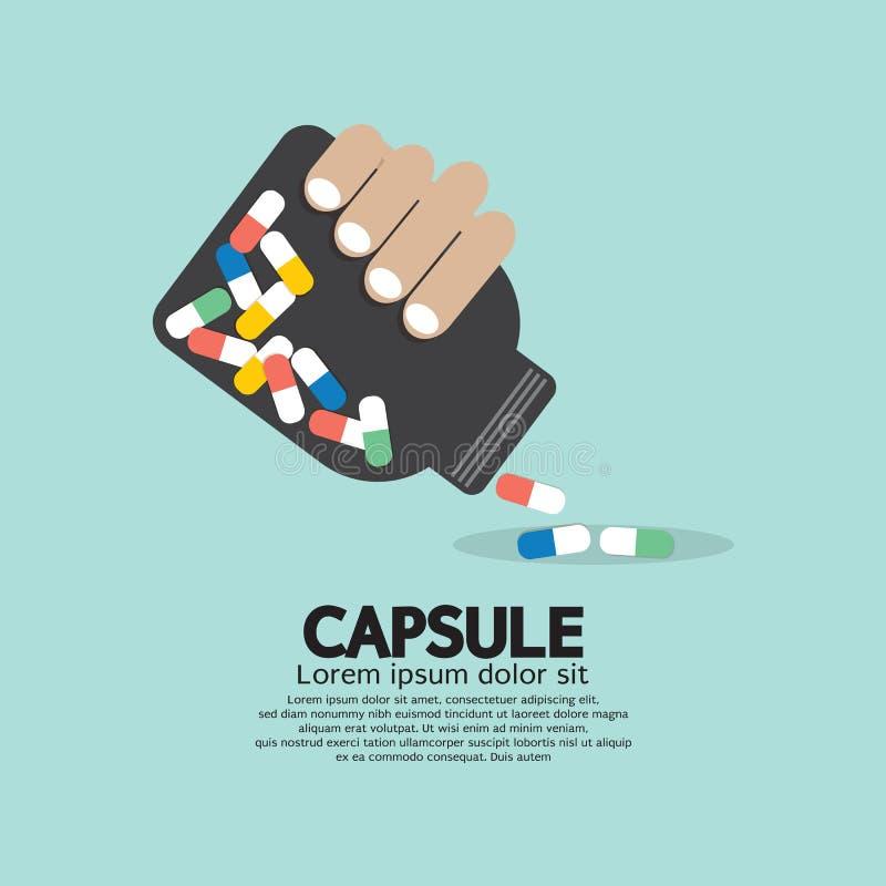 Medicine Capsules Bottle In Hand. Vector Illustration royalty free illustration