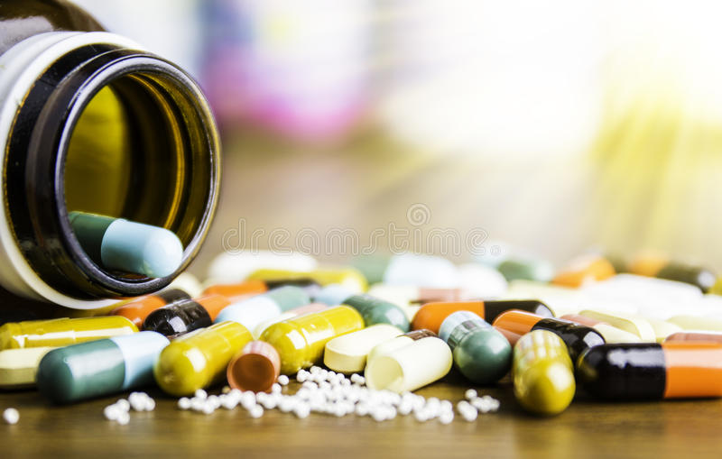 Medicine or capsules. Drug prescription for treatment medication. Pharmaceutical medicament, cure in container for health. Pharmac. Y theme, capsule pills with royalty free stock image