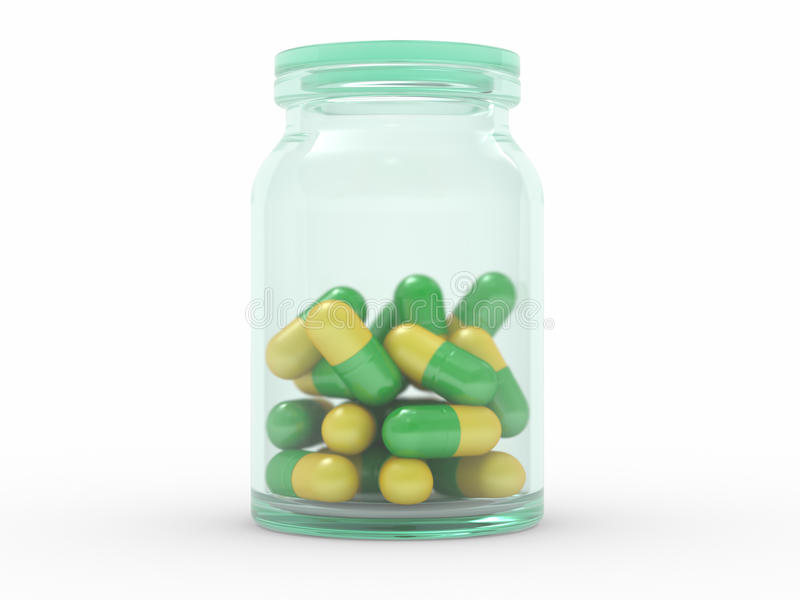Medicine Capsules In A Pill Bottle Stock Images