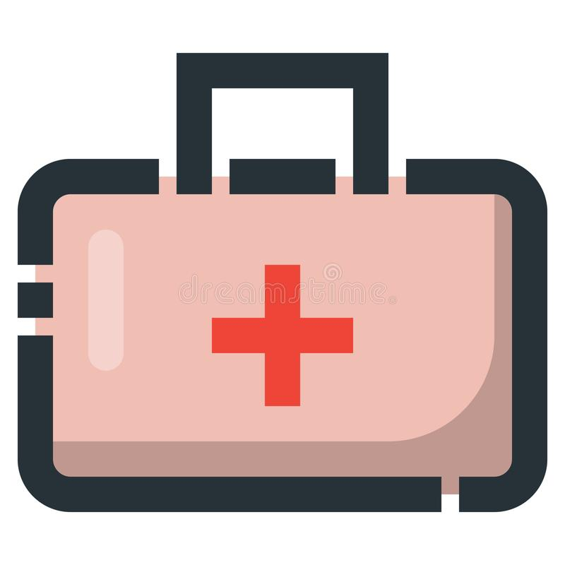 Medicine Case Vector Filled Line Icon 32x32 Pixel Perfect. Editable 2 Pixel Stroke Weight. Colorful Medical Health Icon for. Website Mobile App Presentation stock illustration
