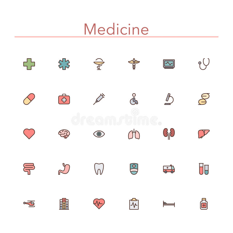 Medicine Colored Line Icons vector illustration