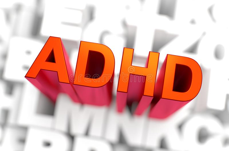 ADHD - Medicine Concept. 3D rendering. Medicine Concept. ADHD Attention Deficit Hyperactivity Disorder - The Word of Red Color Located over Letters of White vector illustration