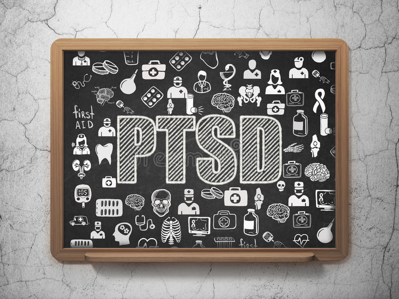 Medicine concept: PTSD on School board background royalty free illustration