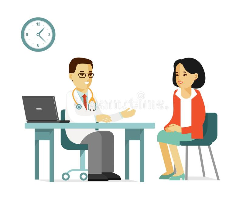 Medicine concept with doctor and patient in flat style isolated on white background stock illustration