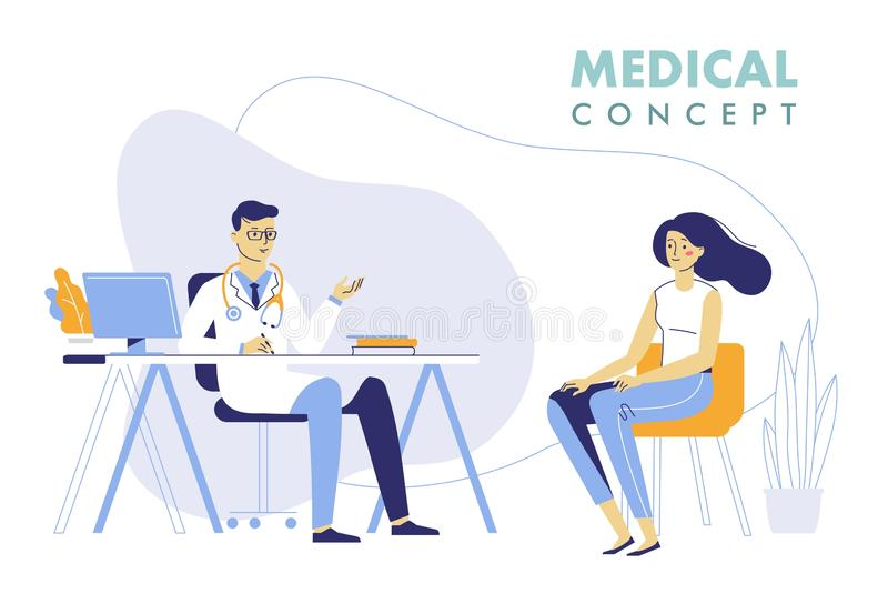 Medicine concept with doctor and patient. Practitioner doctor man and young woman patient in hospital medical office. Consultation and diagnosis vector illustration