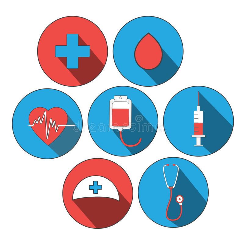 Medicine concept. donate blood and save life. Donation give love. ullustration sticker set. Pack of icons for design. World blood donor day. International royalty free illustration