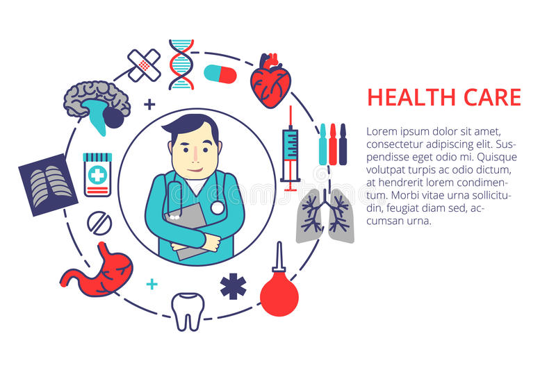 Medicine concept in flat line style. Health care vector illustration with doctor and medical items. For web, info graphic and ban. Ner stock illustration