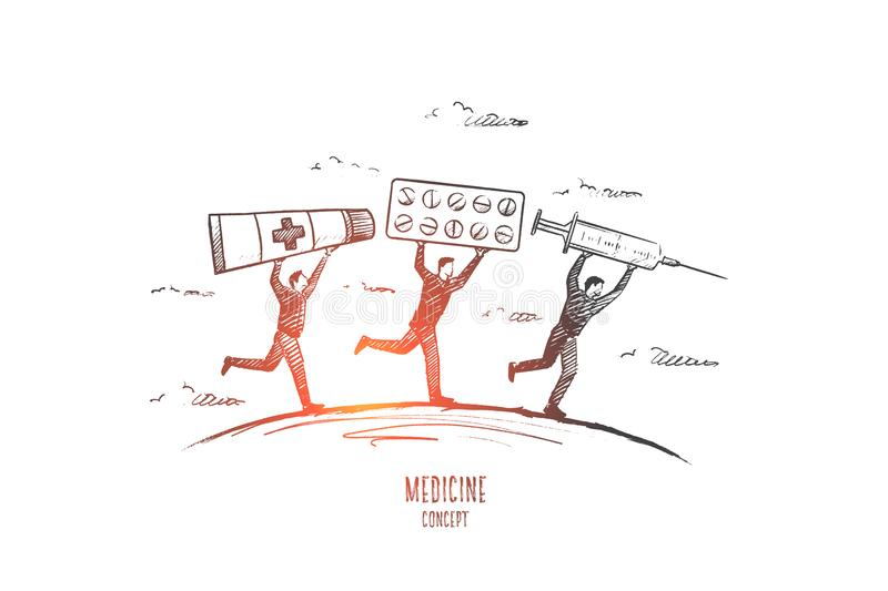 Medicine concept. Hand drawn vector. Medicine concept. Hand drawn people with pills and syringe. Persons running with medicine objects vector illustration vector illustration