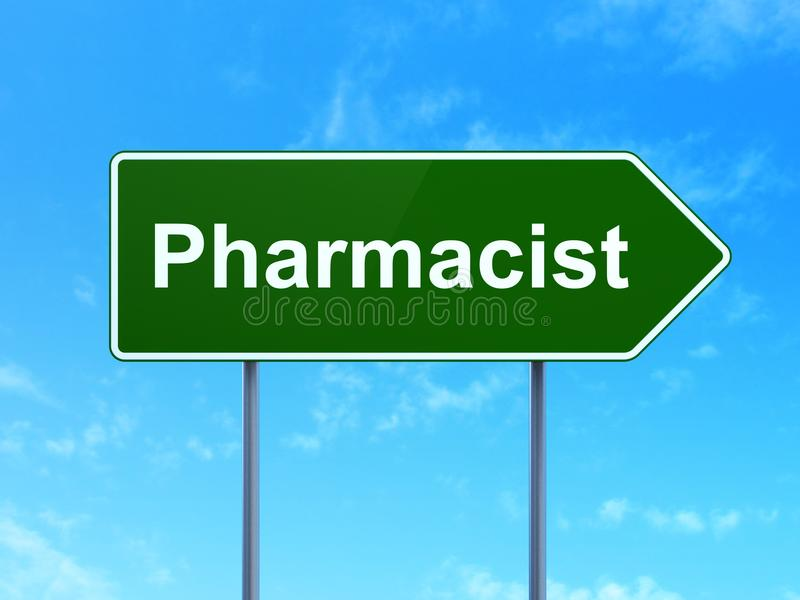 Medicine concept: Pharmacist on road sign background stock image