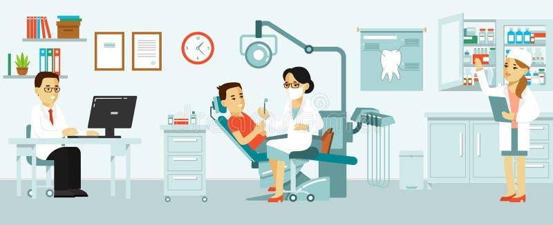 Medicine dental office concept in flat style. stock illustration