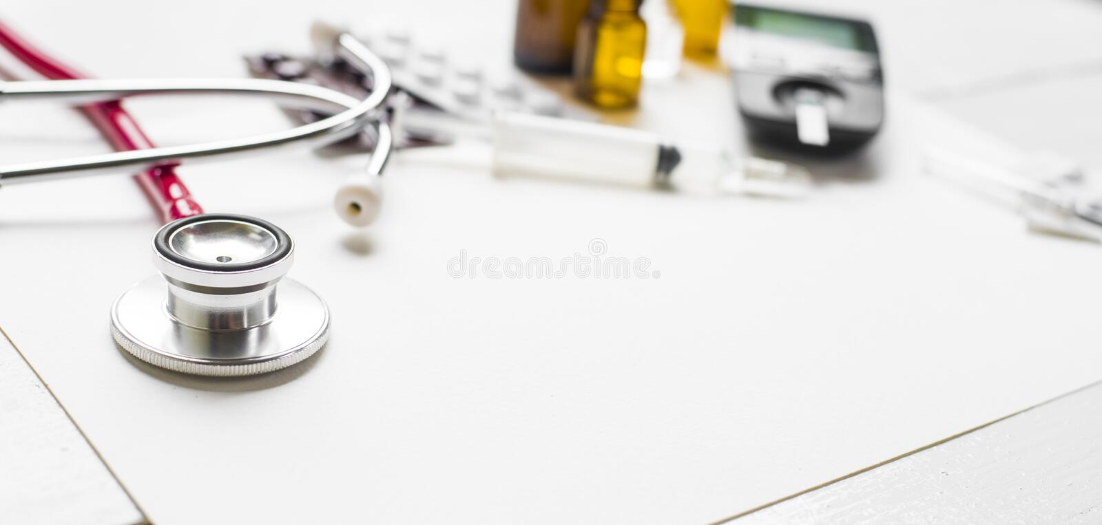 Medicine diabetes advertisement and health care concept stock photo