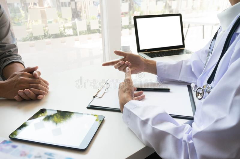 Medicine doctor explain diagnosis to doctor team holding and showing clipboard exploring important document. Medicine doctor explain diagnosis to doctor team stock images