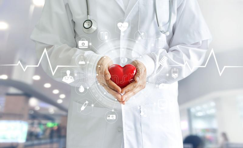 Medicine doctor holding red heart shape in hand and icon medical. Network connection with modern virtual screen interface, medical technology network concept royalty free stock image