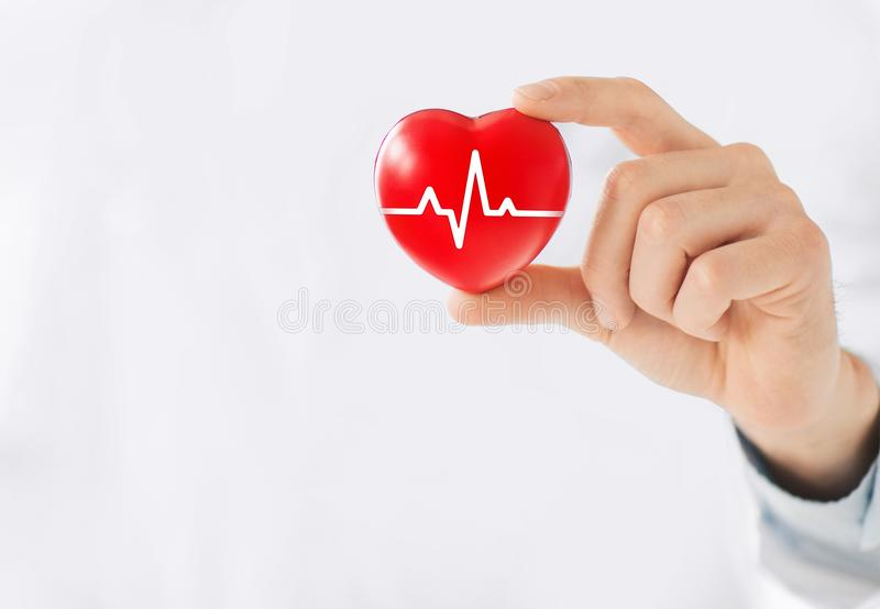 Medicine doctor holding red heart shape in hand with medical icon network connection modern virtual screen interface, service mind royalty free stock photo