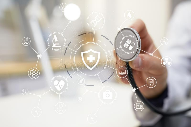 Medicine doctor with modern computer, virtual screen interface. medical technology network and health care concept. stock image
