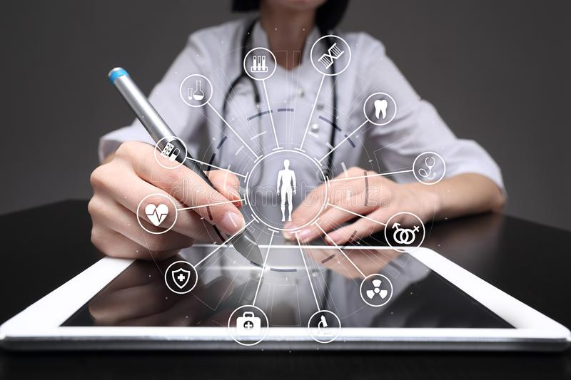 Medicine doctor with modern computer, virtual screen interface and icon medical network connection. health care concept. Medicine doctor with modern computer stock photos