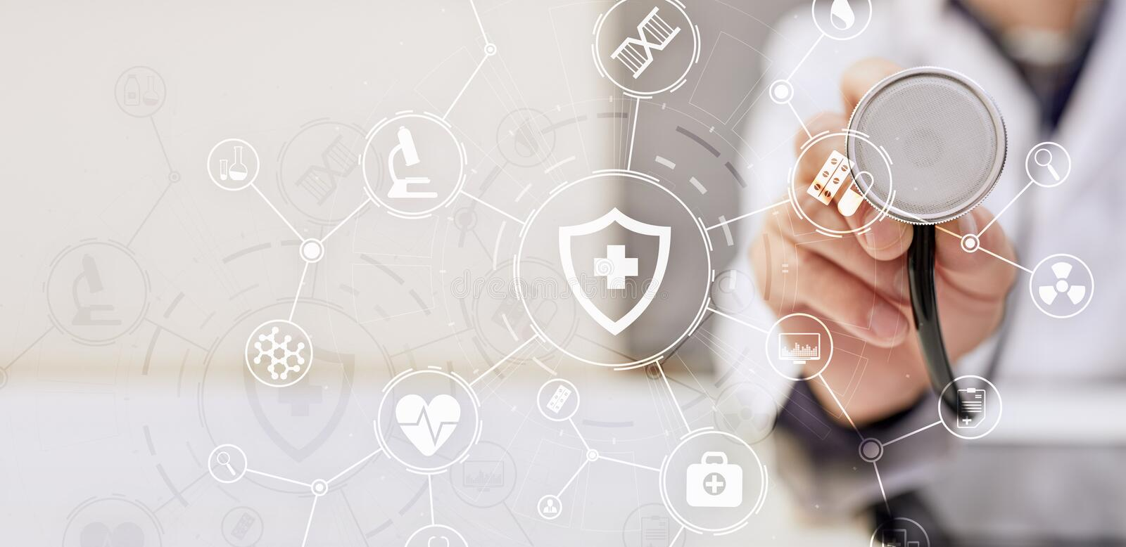 Medicine doctor with modern computer, virtual screen interface and icon medical network connection. Medical technology network and health care concept royalty free stock photography