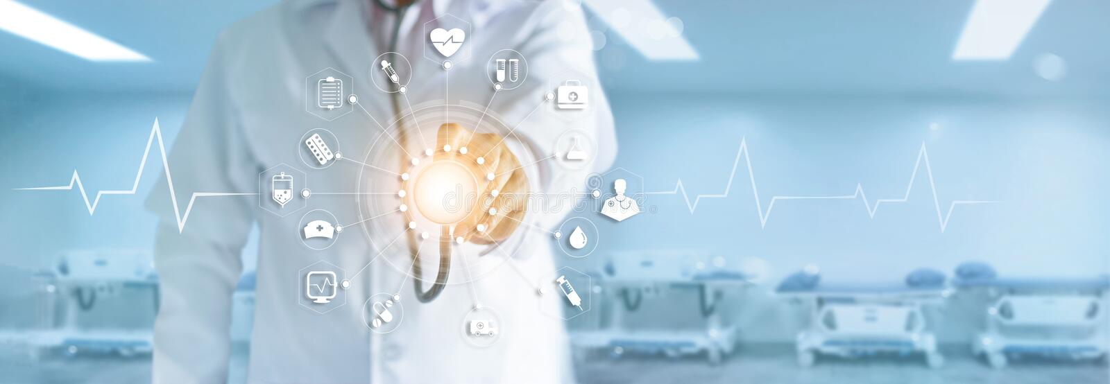 Medicine doctor with stethoscope touching medical icons network. Medicine doctor with stethoscope in hand touching medical network icon connection on modern royalty free stock photography