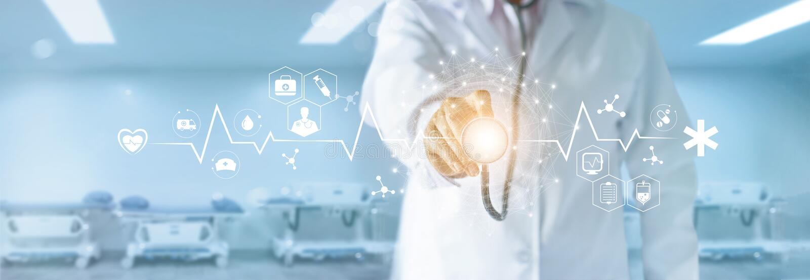 Medicine doctor with stethoscope touching medical icons network. Medicine doctor with stethoscope in hand touching medical network icon and global connection on royalty free stock photography