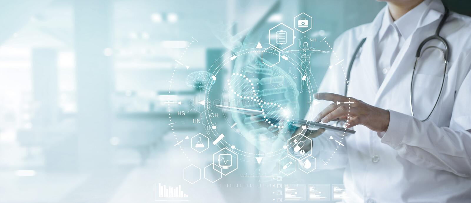 Medicine doctor touching electronic medical record on tablet. DNA. Digital healthcare and network connection on hologram. royalty free stock image