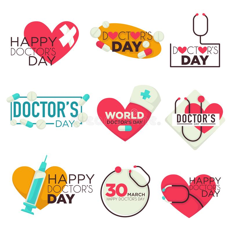 Doctors day isolated icons medicine pills and syringe royalty free illustration