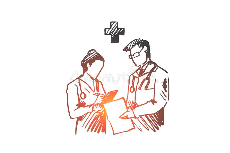 Medicine, doctors, diagnosis, hospital, health concept. Hand drawn isolated vector. stock illustration
